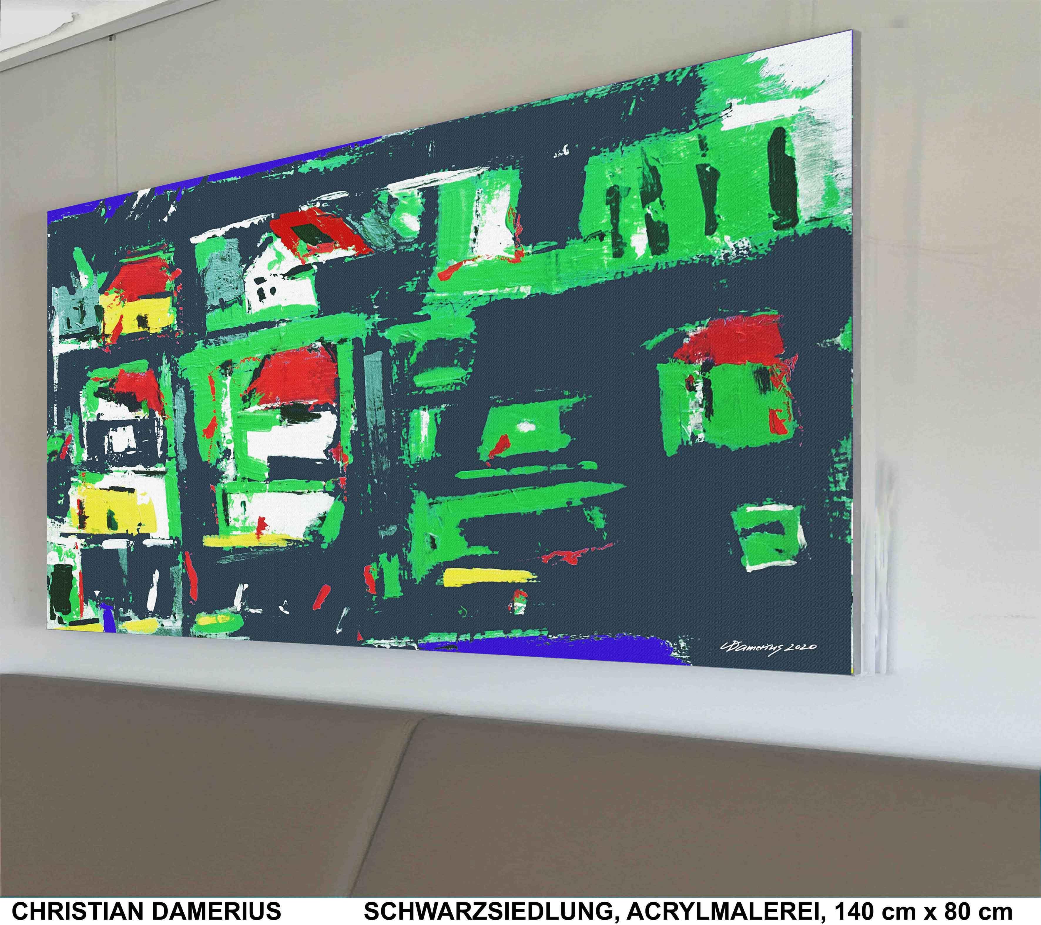 schwarz siedlung,christian damerius,wohnen,wohnhäuser,wohnsiedlung,farbe schwarz,grün,rot,blau,bilder, grafik,moderne kunstdrucke,gemälde,originalmalerei,deutsche malerei,moderne deutsche maler,malerinnen,bilderwand,wände verschönern,landschaftsmalerei,